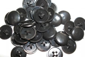 Plastic BLACK Press-Fit Pozi Screw Head Covers Caps  pack size 50 or 100
